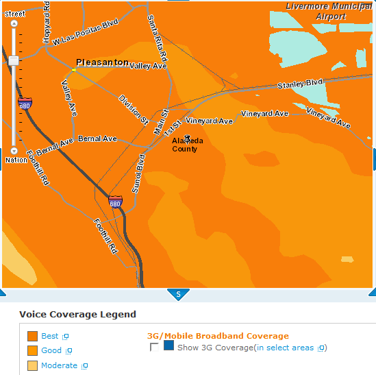 at&t coverage map