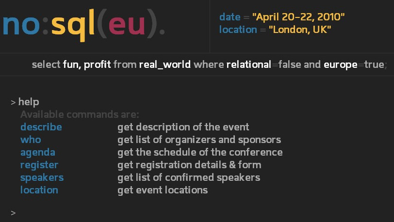 Don't Believe the Hype, Come to NoSQL EU April 20-22