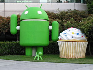 Android and cupcake at the Googleplex