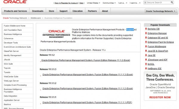 """Supported Platforms """"Death Matrix,"""" Copyright (c) Oracle Corp."""