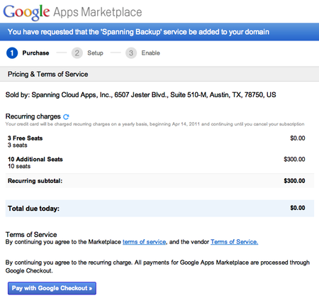 Purchase Spanning Backup licenses from within Google Apps