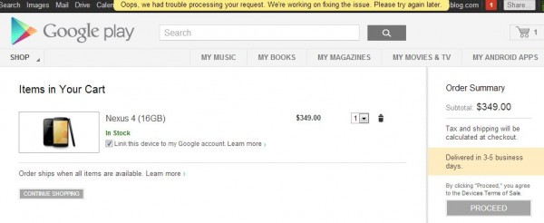 "Google Play Site Falls Apart on Nexus 4 Launch.  Now I Know Why it's Called ""Play"""