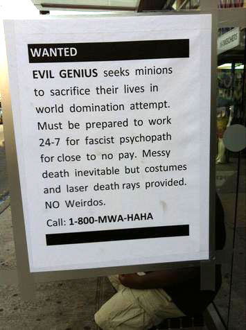 Evil VC Seeks Minions for World Domination