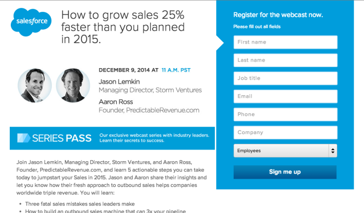 "Join Salesforce, SaaStr and Aaron Ross Next Tuesday For ""How To Grow 25% Faster in 2015″"