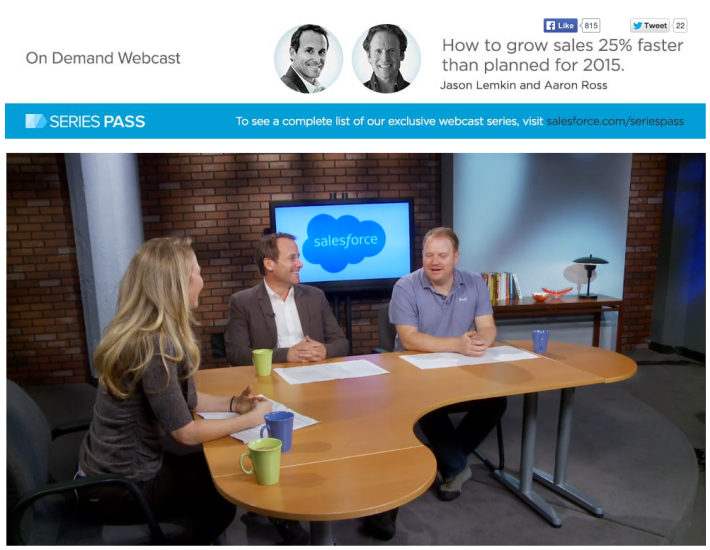 How to Grow 25% Faster Than Plan in '15: The Salesforce Live Video with SaaStr, Aaron Ross and Parker Conrad, CEO of Zenefits