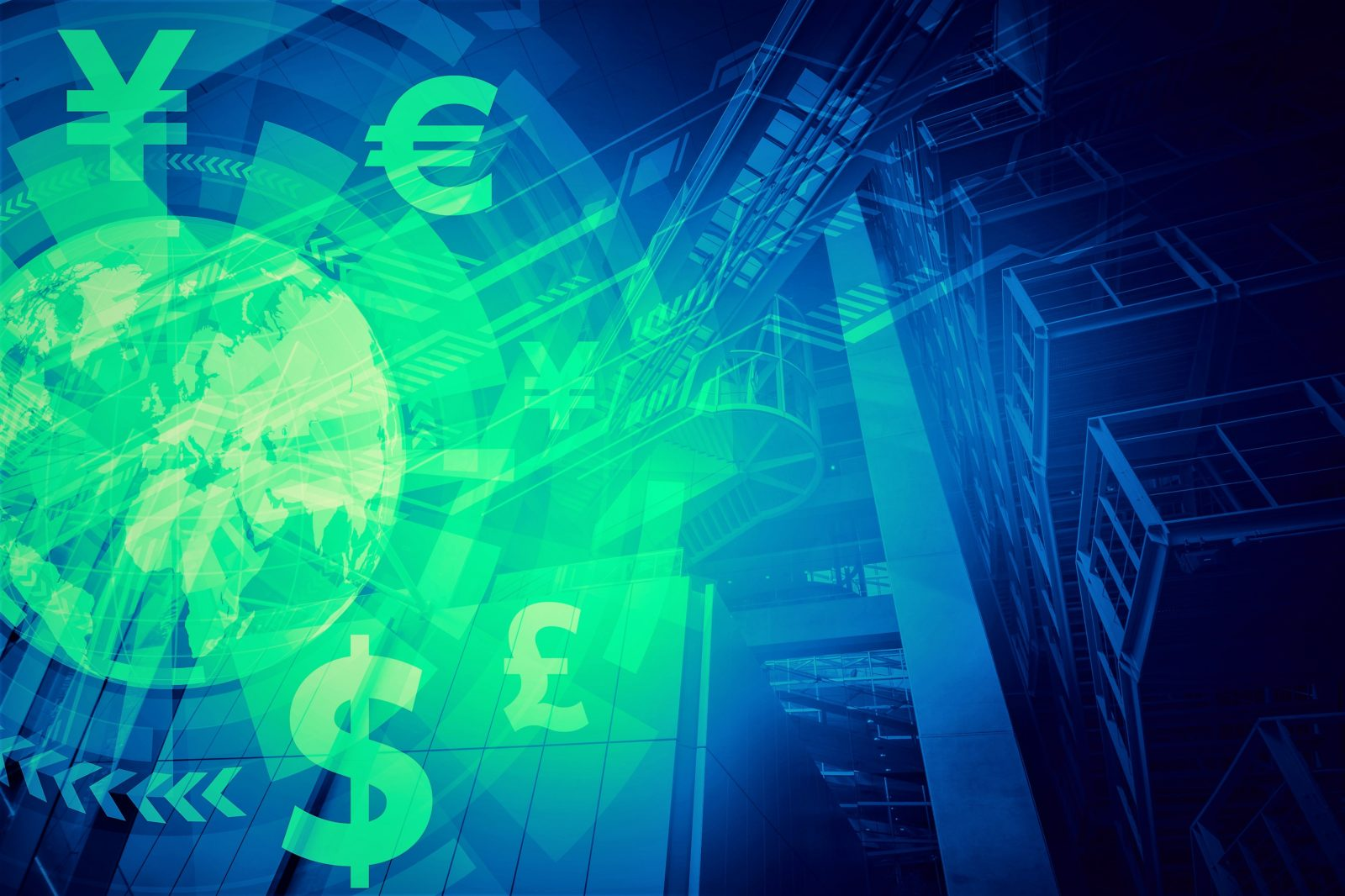 duo tone graphic of finance technology and global trade, abstract image visual