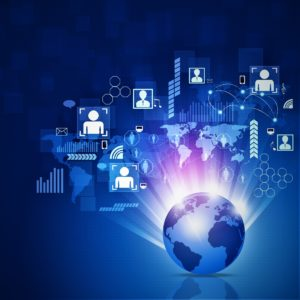 abstract world network business connection blue background